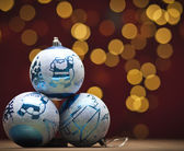 Christmas decoration with blue bauble — Stock Photo