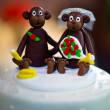 Wedding Cake with Monkey Toppers — Stock Photo