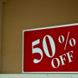 Fifty Percent Off Sign — Stock Photo