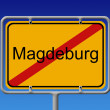 Ortsschild Ortsausgang Magdeburg - City Sign City Limit Magdebur — Stock Photo