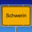 Ortsschild Schwerin - City Sign Schwerin — Stock Photo