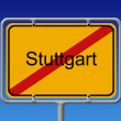Ortsschild Ortsausgang Stuttgart - City Sign City Limit Stuttgar — Stock Photo