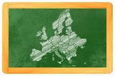Europa mit ländern als Zeichnung an einer Tafel - Europe with c — Stock Photo