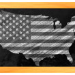 USA shaped us flag on a blackboard — Stock Photo