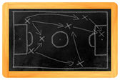 Soccer tactics chalk on blackboard — Stockfoto