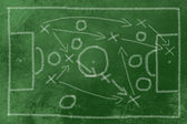 Soccer tactics chalk on black — Stock Photo