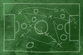 Futbol taktikleri tebeşir siyah — Stok fotoğraf