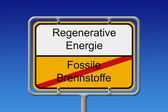 Fossil fuel renewable energy city sign — Stock Photo