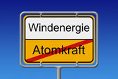 Nuclear Power wind energy city sign — Stock Photo