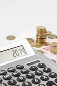 Calculator and European currency — Stockfoto