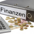 Finanzen Binder Calculator and Currency — Stock Photo
