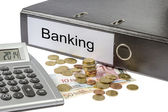 Banking Binder Calculator and Currency — Stock Photo