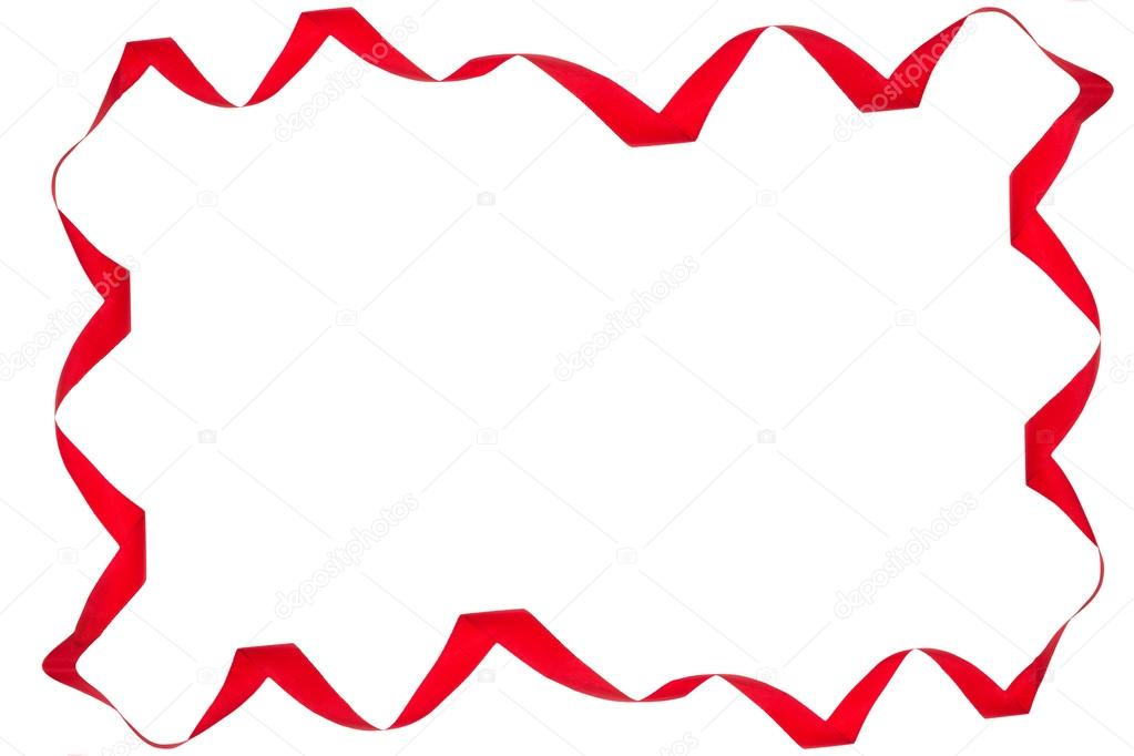 Red Ribbon Border Frame of Red Ribbon Isolated