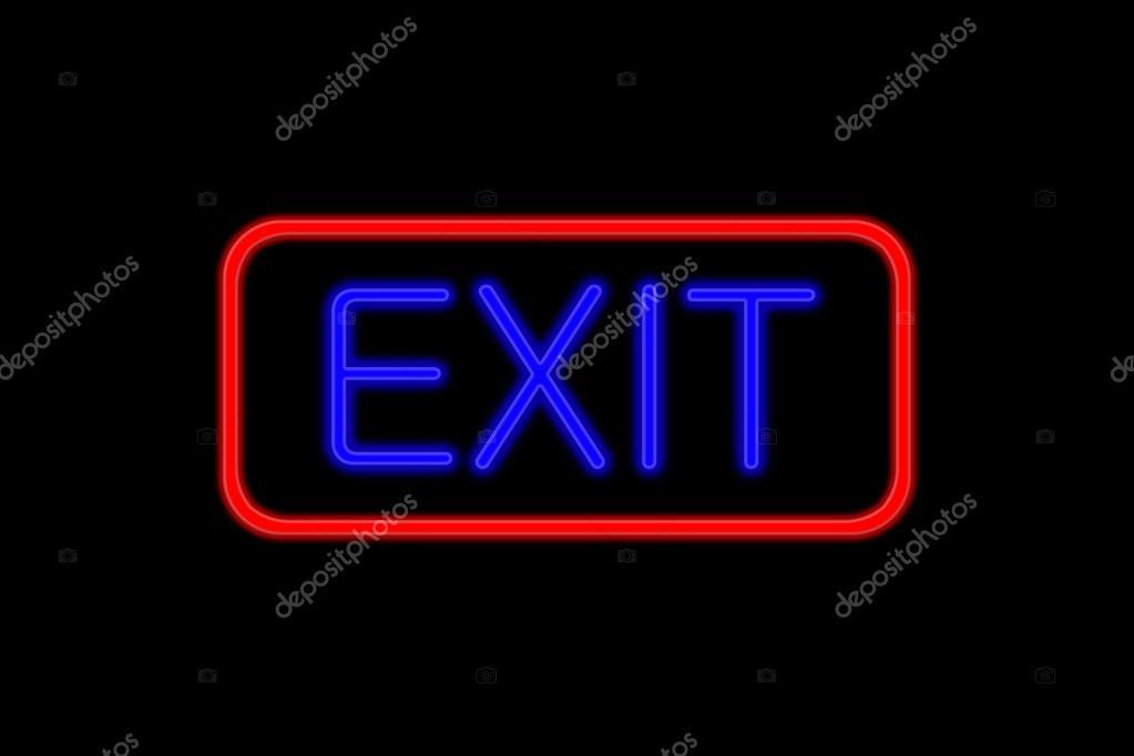 发光的巨型霓虹灯招牌用蓝色的字体书写和显示的红色框退出孤立在黑色