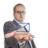 Business man holding envelope Symbol — Stock Photo