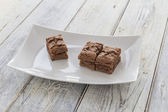 Brownies on a plate — Stock Photo