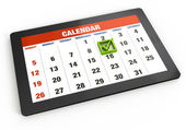 Kalender på tablet pc — Stockfoto