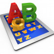 Letters of the alphabet on the tablet computer — Stock Photo