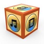 Social media concept in cube — Stock Photo