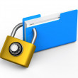 File folder, code padlock — Stock Photo