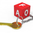 Key with dice faq — Stock Photo
