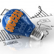 Stock Photo: Light bulb with business graph