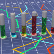 Colorful cylindrical bar graph. Linear white chart. — 图库照片