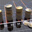 Financial settlement with the charts and coins — Stock Photo