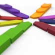 Colored arrows pointing to the center — Stock Photo #25756663