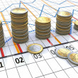 Financial settlement with the linear charts and coins — Stock Photo