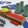 Factory on the world map. — Stock Photo