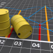 Two yellow barrels with a linear graph — Stock Photo #25756869