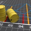 Stock Photo: Two yellow barrels with a linear graph