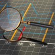 Magnifying glass on graph — Stock Photo
