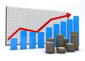 Monete e grafici di affari finanziari — Foto Stock