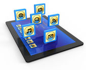 Tablet computer with of application icons — Stockfoto