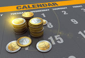 Calendar with coins — Stockfoto