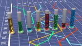Colorful cylindrical bar graph. Linear white chart. — Stockfoto