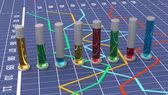 красочные цилиндрические гистограммы. линейный график белый. — Стоковое фото