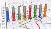 Cylindryczne kolorowy wykres słupkowy. liniowy wykres biały. — Zdjęcie stockowe