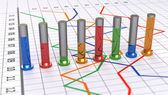 Graphique à barres cylindrique coloré. graphique linéaire en blanc. — Photo