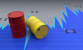 Two barrels with a process diagram — Stock Photo