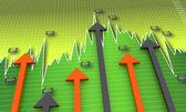 Market data with arrows — Stock Photo