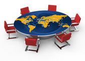 Sala conferenze con una mappa del mondo di turno — Foto Stock
