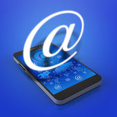 Touch screen mobile phone with email icons — Stock Photo