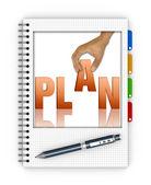 Schreiben eines aktionsplans — Stockfoto