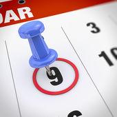 Kalender und Pin — Stockfoto