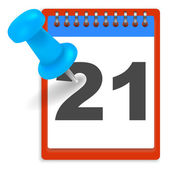 Calendar and pushpin — Vettoriale Stock