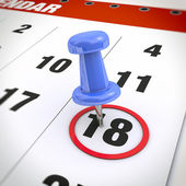 Calendar and pushpin — Stock Photo