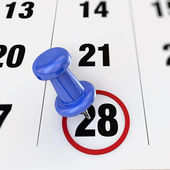 Calendar and pushpin — Stock Photo